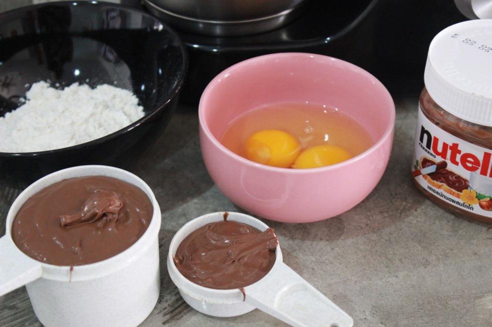 All ingredients to nutella brownies